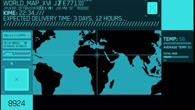 world map digital hud