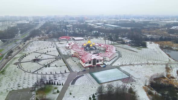 The First Snow That Fell on the Huge Territory of the Monastery Located in Western Ukraine
