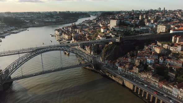 Porto Downtown with Small Buildings and Old Metal Bridge