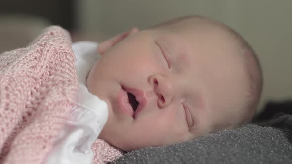 Thumbnail for Lovely Newborn Baby Girl Sleeping on Mothers Chest
