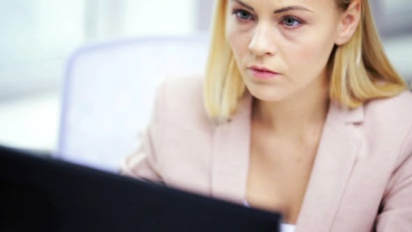 Thumbnail for Stressed Businesswoman With Computer At Office 60