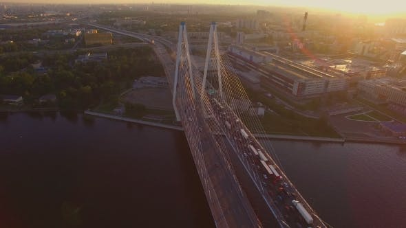 Thumbnail for The Cable-stayed Bridge At Sunset