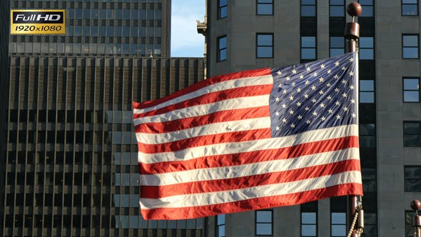 Thumbnail for Cinematic United States Flag Waving on Chicago at Sunset