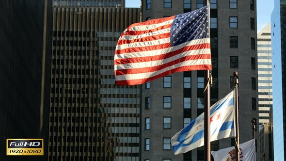 Thumbnail for United States and Chicago Flags Waving on Chicago at Sunset