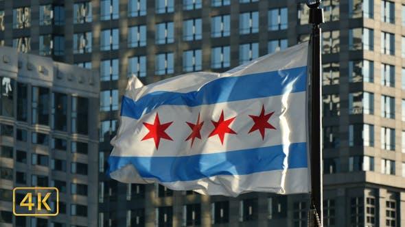 Chicago Flag Waving at Sunset 4K