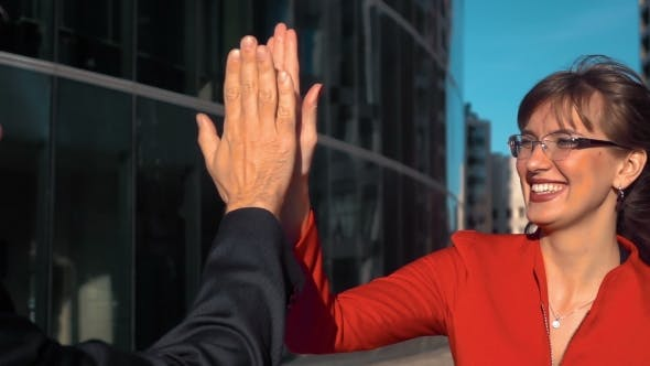 Business People High Five Outdoor