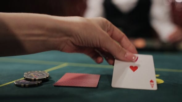 Thumbnail for Beautiful Girl The Player Makes a Bet In Poker And Wins.