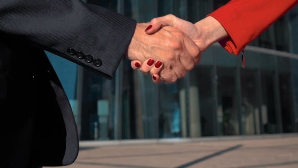 Thumbnail for Businessman And Businesswoman Shaking Hands