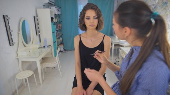 Thumbnail for Beauty Makeup Artist Woman Applying Make Up Sensual Brunette Girl