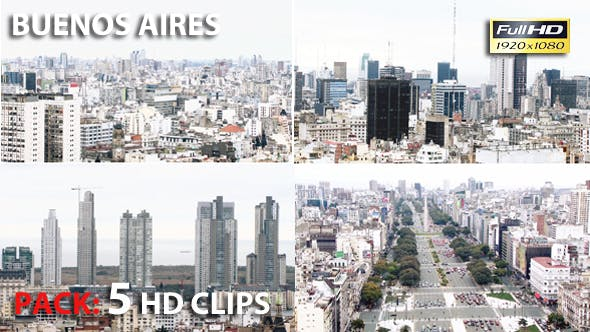 Thumbnail for Buenos Aires, Capital City of Argentina. Pack 5 Full HD Clips.