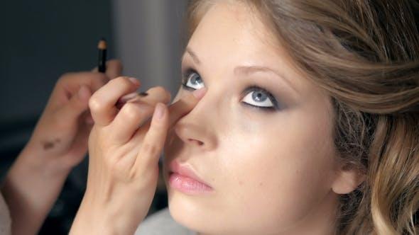 Thumbnail for Makeup. Make-up. Eyeshadows. Eye Shadow Brush, Eye Lid, Smockey Eyes And Hairstyle