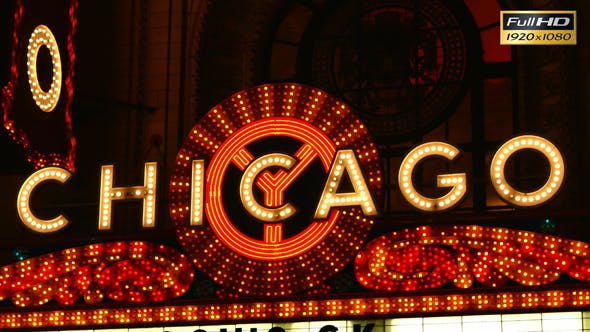 Thumbnail for Chicago Bright Neon Theater Marquee at Night