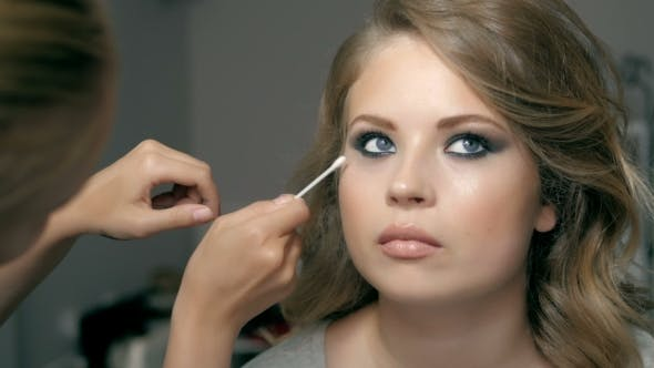 Beautiful Model Woman In Beauty Salon Makeup Young Modern Girl In Luxurious Spa Lady Make Up Mascara