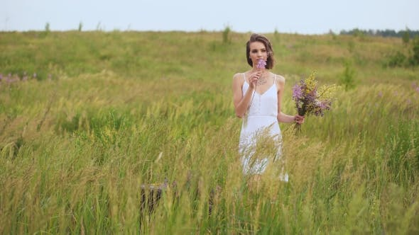 Thumbnail for Summer Flowering Field And a Beautiful Girl In a White Sundress.
