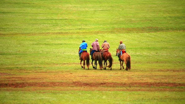 Thumbnail for People Riding Horses in Mongolian Landscape 2