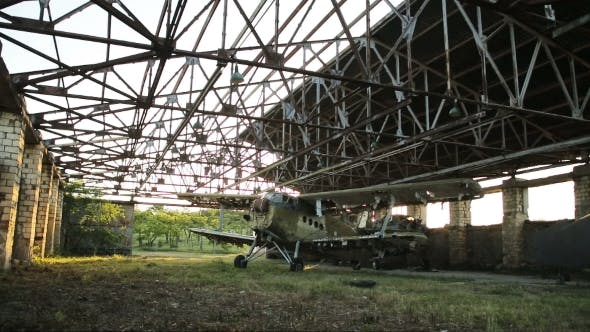 Thumbnail for Old Military Airplane In The Hangar