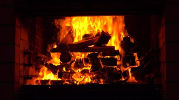 Thumbnail for Shot of a Fireplace and Burning Firewoods