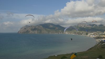 Paragliders Fly In The Breeze