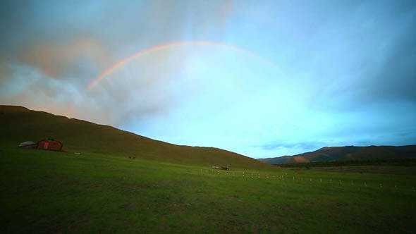 Rainbow at Mongolian Steppes