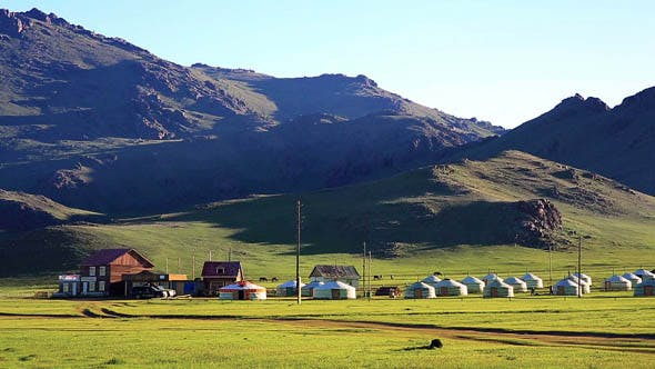 Mongolian Yurts and Wooden Houses