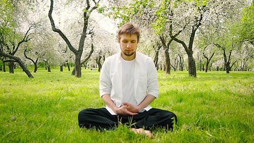 Man Meditating in The Park