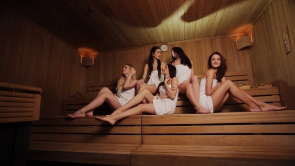 Thumbnail for Five Pretty Young Woman Relaxing In Sauna