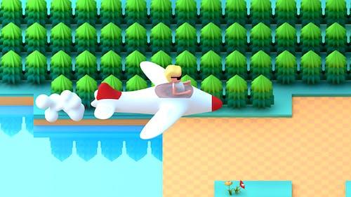 Cartoon Aircraft Adventure Retro Video Game