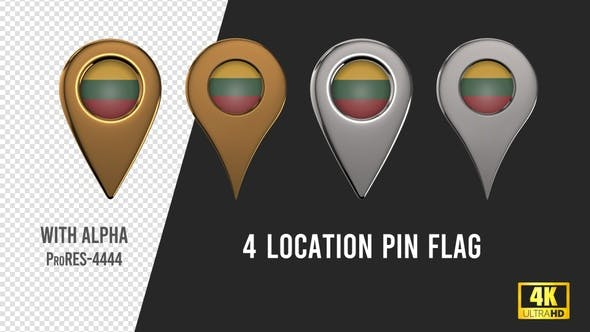 Lithuania Flag Location Pins Silver And Gold