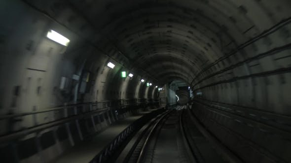 Thumbnail for Train Making His Way In Dark Underground Tunnel