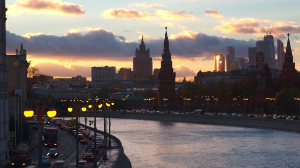 Thumbnail for Moscow Evening  Involving Moscow River, Kremlin And Moscow City Center