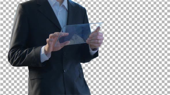 Thumbnail for Businessman Hands Close up Holding Virtual Tablet