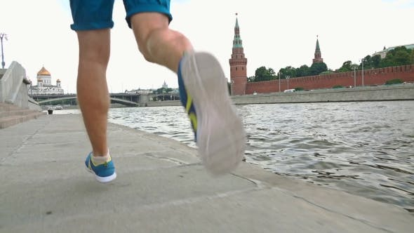 Thumbnail for Athletic Male Runner Legs Against Moscow Kremlin 120 Fps
