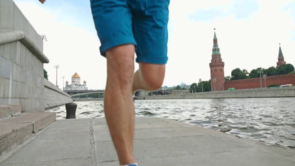 Thumbnail for Athletic Man Runner Against Moscow Kremlin 120 Fps