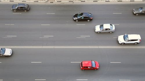 Cars Driving on a Multilane Road