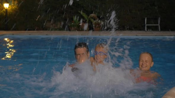 Thumbnail for Happy Family Splashing Water In The Pool