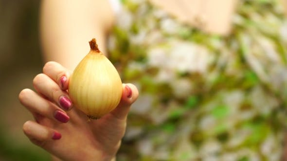 Thumbnail for Footage Woman Holding a Onion