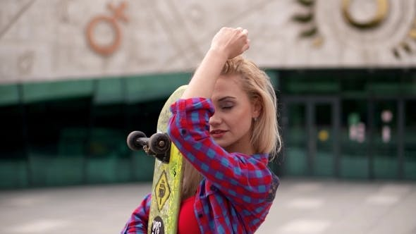 Thumbnail for Sexy Pretty Skater Woman Outdoor