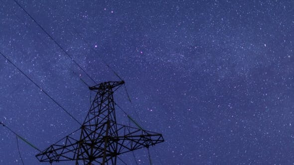 Thumbnail for Power Transmission Line Tower On a Starry Sky.
