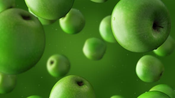 Thumbnail for Falling Green Apples And Water Drops