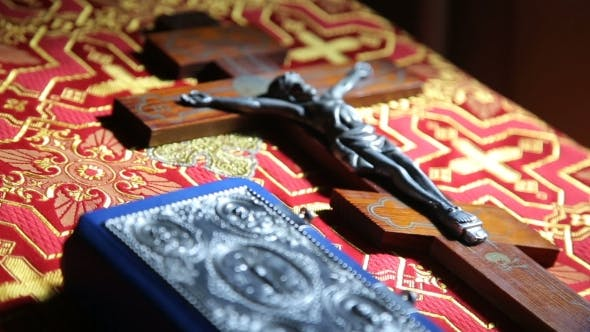 Thumbnail for Orthodox Cross With Bible In Church