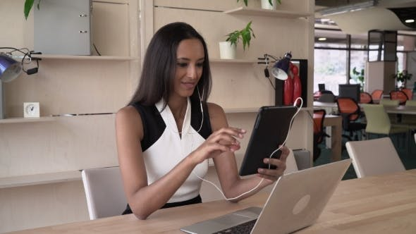 Thumbnail for Businesswoman Has Conference Call With Partner On The Touch Screen Tablet.