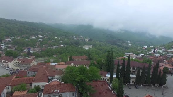 Thumbnail for Aerial View Of An Little Town In Fog