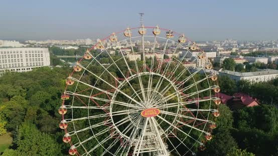 Thumbnail for Attraction Ferris Wheel in Amusement City Park Minsk Belarus, Aerial Drone View