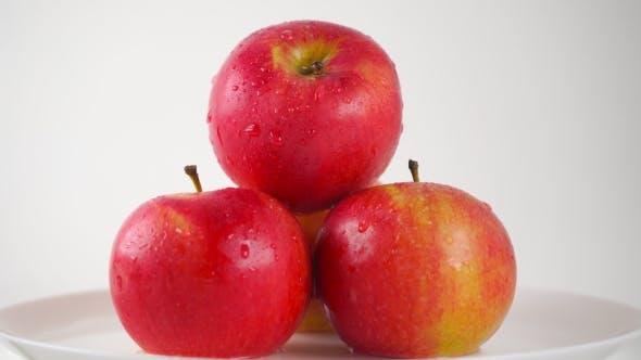 Thumbnail for Girl Hand Taking One Wet Red Apple