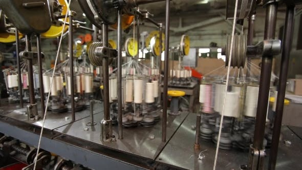 Thumbnail for Yarn Spools In a Textile Factory.