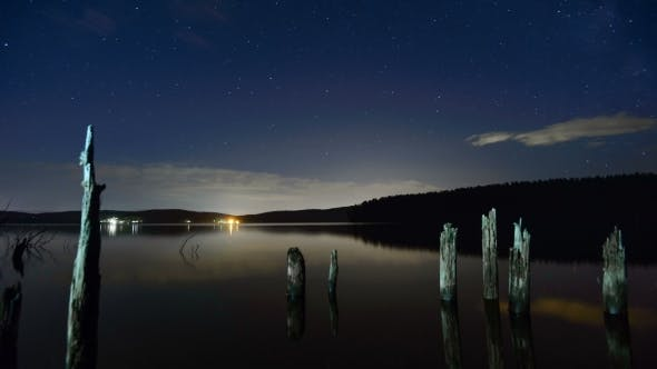 Cover Image for The Starry Sky Above a Mountain Lake.