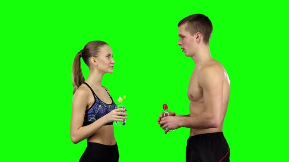 Thumbnail for Couple Doing a Handshake In The Gym. Green Screen