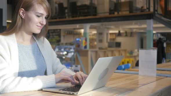 Thumbnail for Young Woman Working on Laptop in Cafe, Coworking