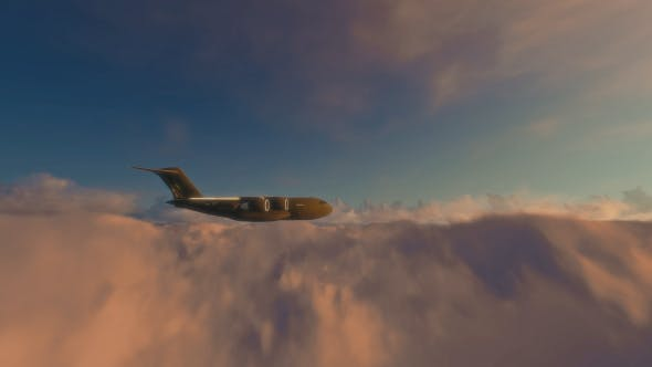 Thumbnail for Military Plane Flying Over the Clouds