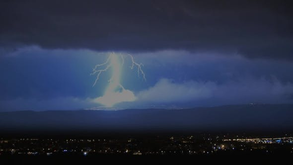 Night Thunderstrom With Lightning Discharges